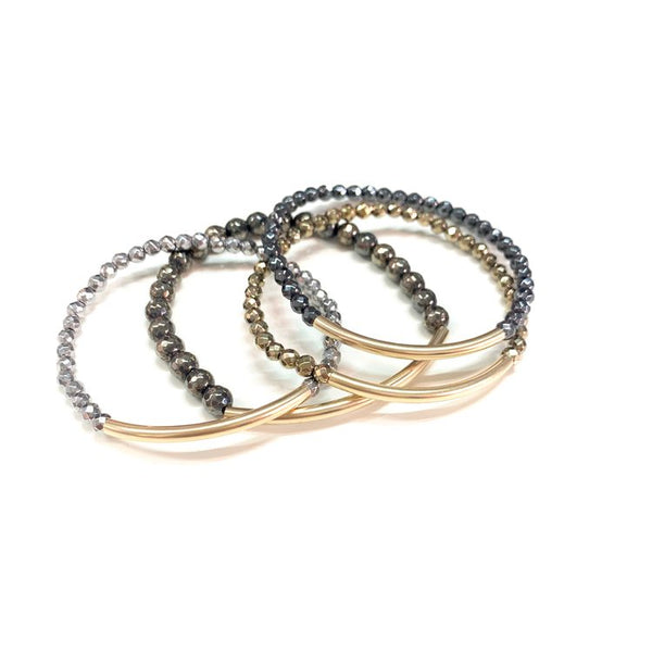Gold + Stone Disco Tube Bracelet
