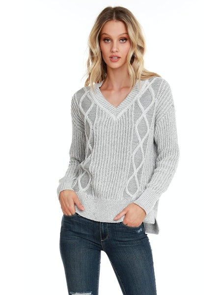 Bobi V-Neck Plaited Cable Sweater