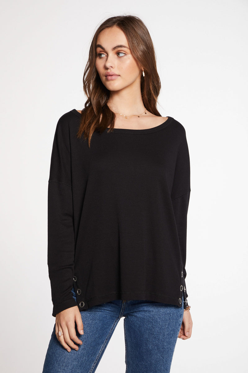 Chaser Vintage L/S Drop Shoulder Top
