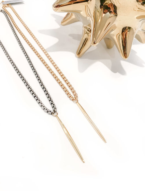 Gold + Stone Venetian Spike Necklace