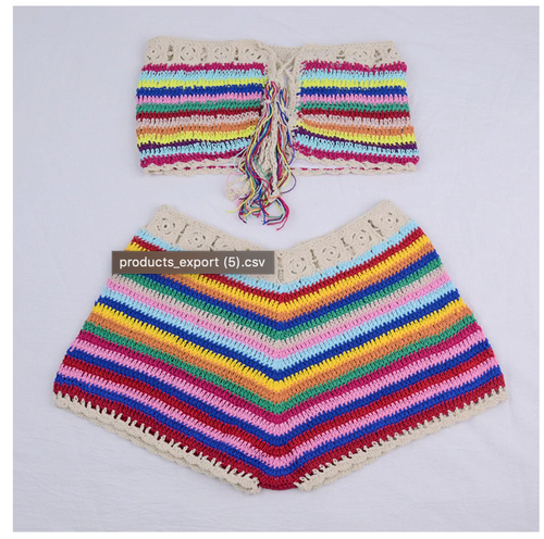 Handmade Rainbow Striped Crochet bathing suit