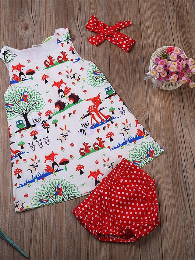 Baby Girls' Active / Basic Print Sleeveless Short Cotton Clothing Set Beige / Toddler
