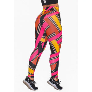 Calça Legging Fitness Estampada Colored Stripes