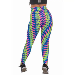 Calça Legging Fitness Estampada Colorful Abstract Mosaic