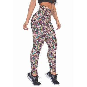 Calça Legging Fitness Estampada Leaves and Flowers