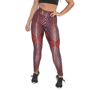 Calça Legging Fitness Estampada Red Abstract Mosaic