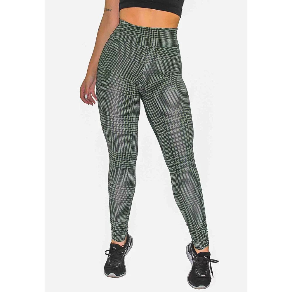 Calça Legging Fitness Estampada Striped Green