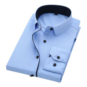 Camisa Masculina Fashion, Casual, Lisa, Manga Longa, 100% Algodão Slim Fit