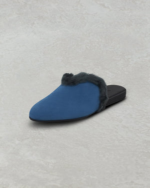 HEART SLIPPER SUEDE WITH SHEARLING TRIM