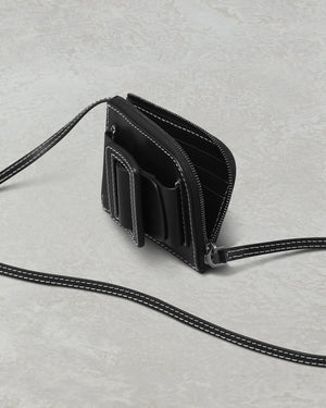 BUCKLE CARD HOLDER WITH STRAP BIG STITCH  BLACK