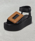 PUFFY SANDAL PLATFORM ANKLE STRAP TWO-TONE BLACK / CARAMEL
