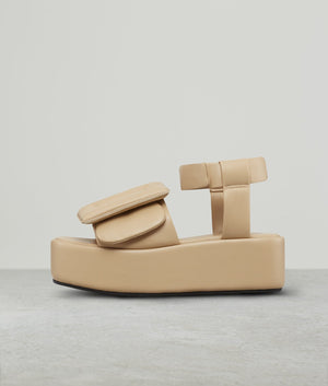 PUFFY SANDAL PLATFORM ANKLE STRAP WOOD