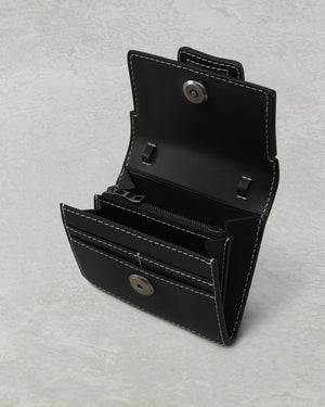 BUCKLE SQUARE WALLET BIG STITCH BLACK