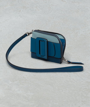 BUCKLE CARD HOLDER COLOR BLOCK BLUE TONAL