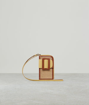 BUCKLE CROSS BODY PHONE CASE RAFFIA COLOR BLOCK BRANDY POLENTA