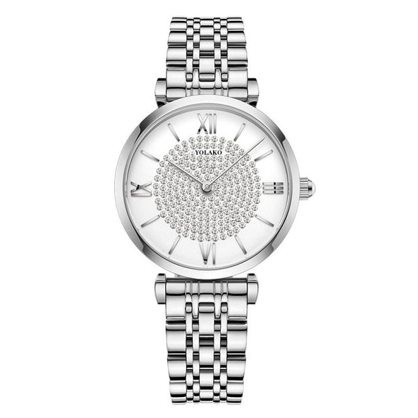 Diamond Design Silver Dial Stainless Steel