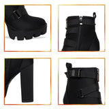 Fashion Platform Ankle Boots Women 12cm Thick Heel