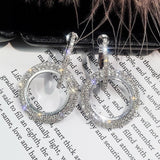 Rhinestone Hoop Earrings Silver/Gold Color