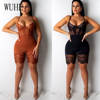 Lace Patchwork Sexy Spaghetti Strap Jumpsuits