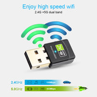 Free Driver USB Wifi Adapter 600Mbps Wi fi Adapter 5 ghz Antenna USB Ethernet PC Wi-Fi Adapter