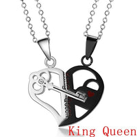 Broken Heart Pendant Lover Necklace Leather Chain
