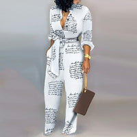 Jumpsuits  Rompers Long Sleeve Print Letter Casual