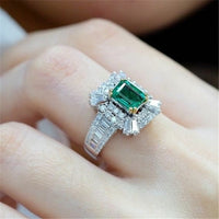 14K Gold Emerald Princess 2 carats Ring Green Topaz 925 Silver