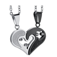 Two Colors Couple Necklace Pendant Love Heart CZ Puzzle Matching