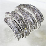 Luxury Pave set full Square gemstone ring S925 Sterling silver