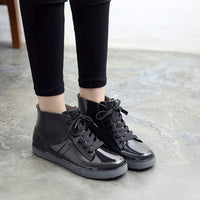Ankle Rain Boots Removable Cover Platform Lace Up