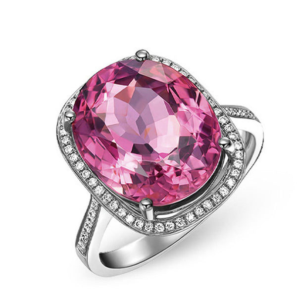 925 Sterling Silver Pink Sapphire Citrine Cocktail Ring