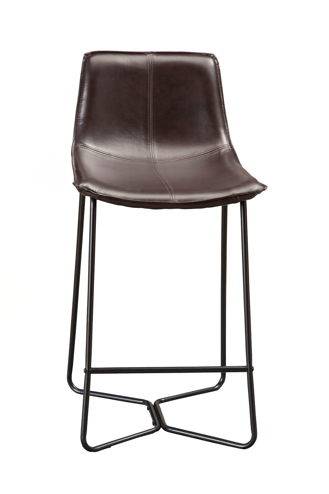 Live Edge Leather Pub Chairs, Dark Brown