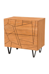 Trapezoid Nightstand, Cerused Wheat
