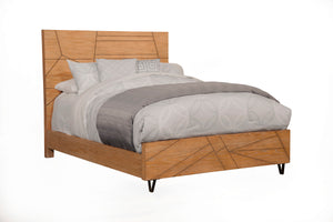 Trapezoid Bed, Cerused Wheat