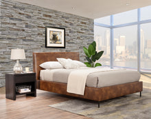 Load image into Gallery viewer, Sophia Faux Leather Platform Bed, Brown