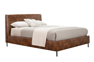 Sophia Faux Leather Platform Bed, Brown