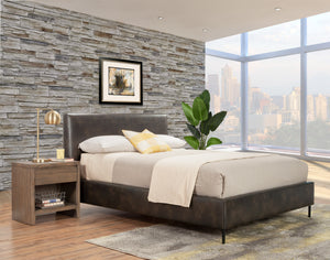 Sophia Faux Leather Platform Bed, Gray