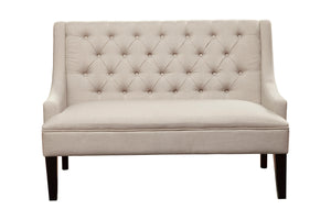 Posh Upholstered Bench, Light Grey/Brown