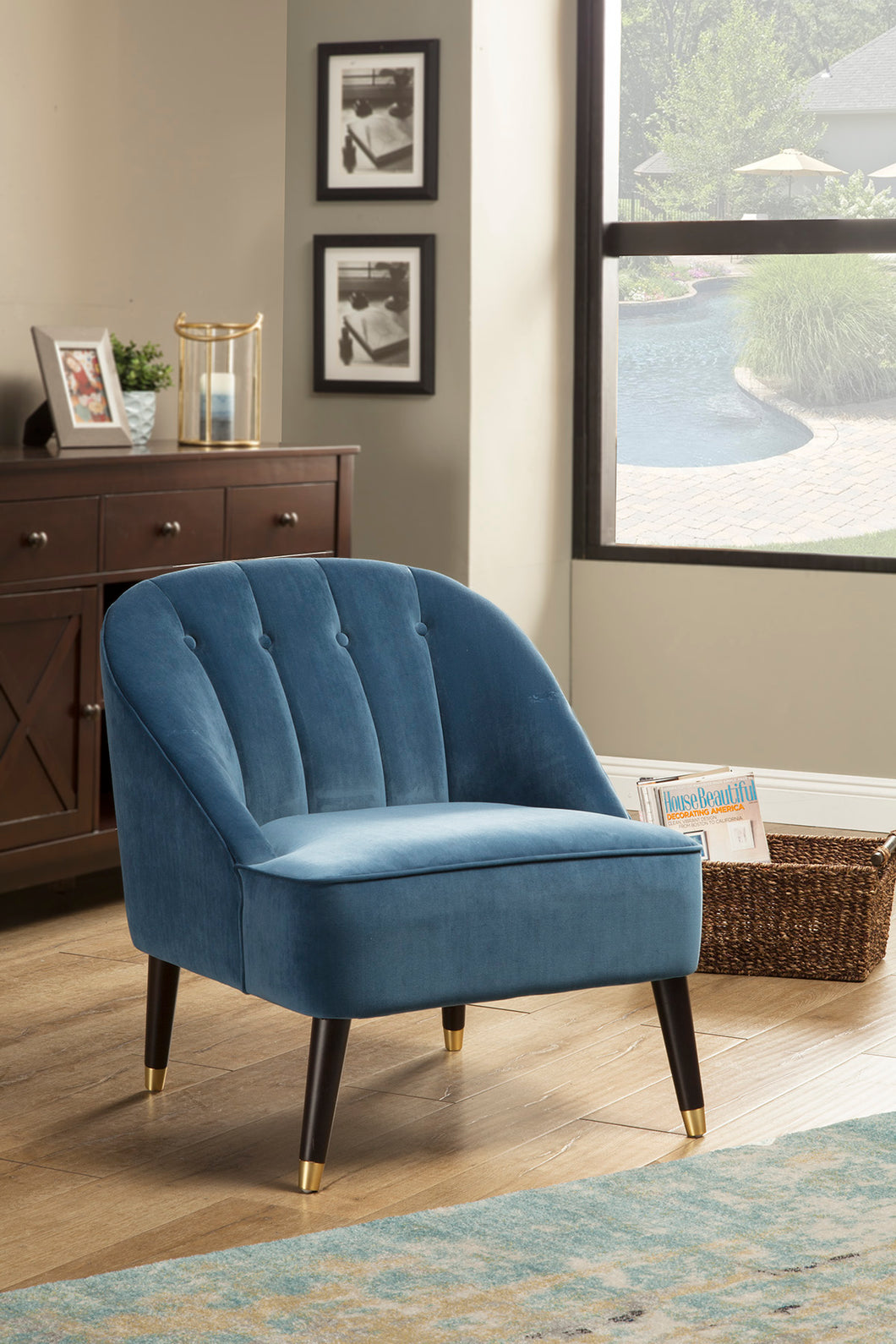Deco Accent Chairs, Blue/Gold