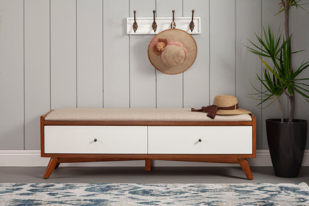 Flynn Bench, Acorn/White