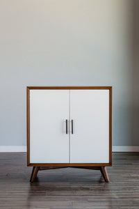 Flynn Small Bar Cabinet, Acorn/White