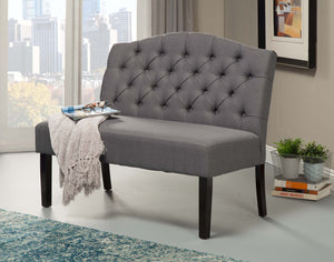 Swan Upholstered Bench, Grey