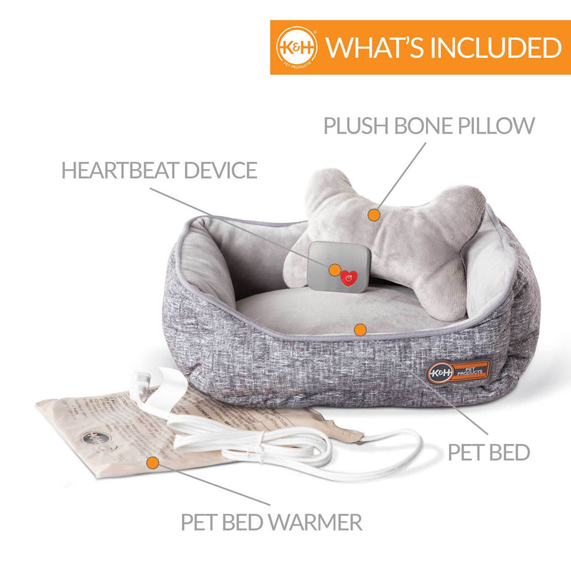 Mother's Heartbeat Heated Puppy Pet Bed with Bone Pillow