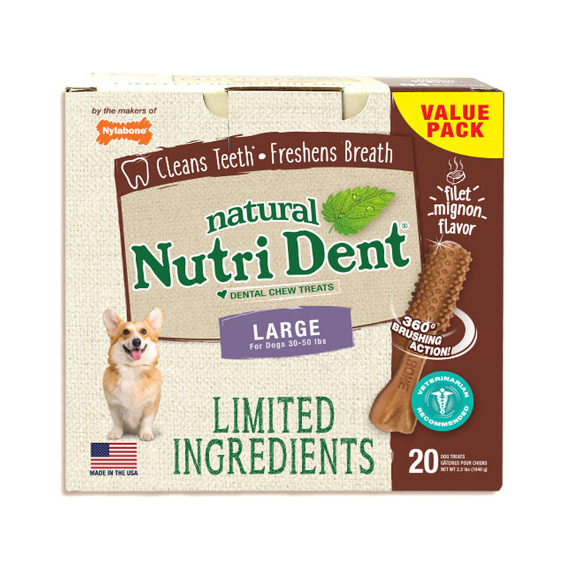 Nylabone Nutri Dent Limited Ingredient Dental Chews Filet Mignon Large