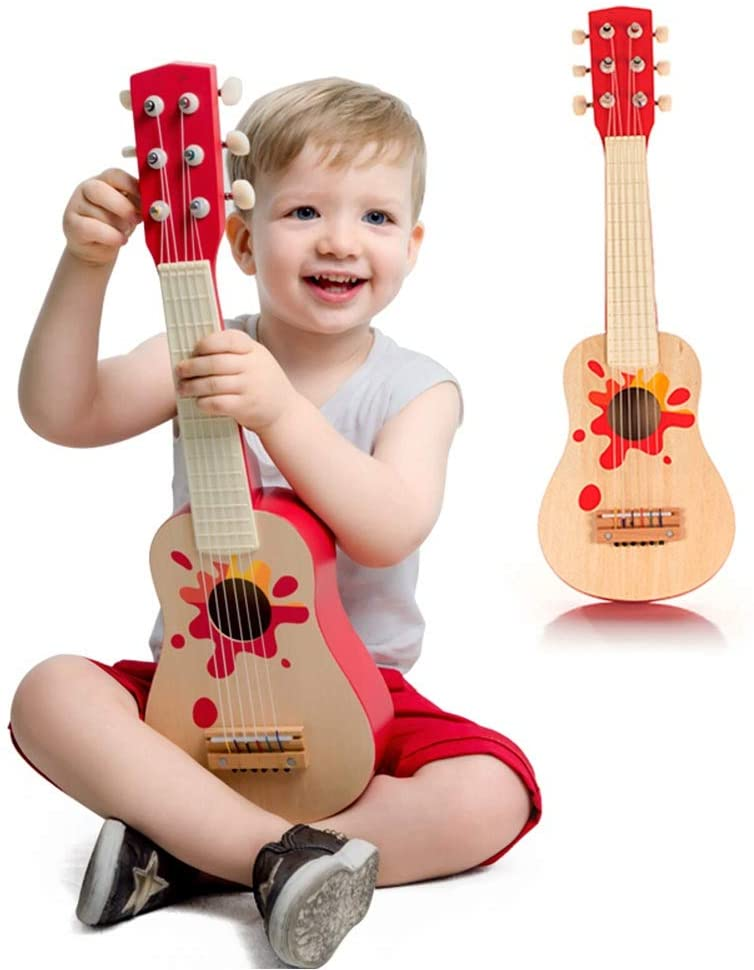 Activity Cube Toys Wooden Guitar Toys for Children Baby Toddler Musical Instruments Sound Toys Learning Activity Toys for Kids Gifts for Toddlers (Color : Red, Size : 9x53.5x17.5cm)