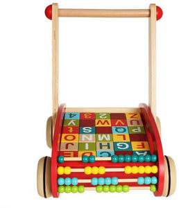 Wooden Baby Learning Walker Toys,Colorful Building Blocks,Abacus,Push and Pull Toddler Toy for 18 Month,Early Dvelopment