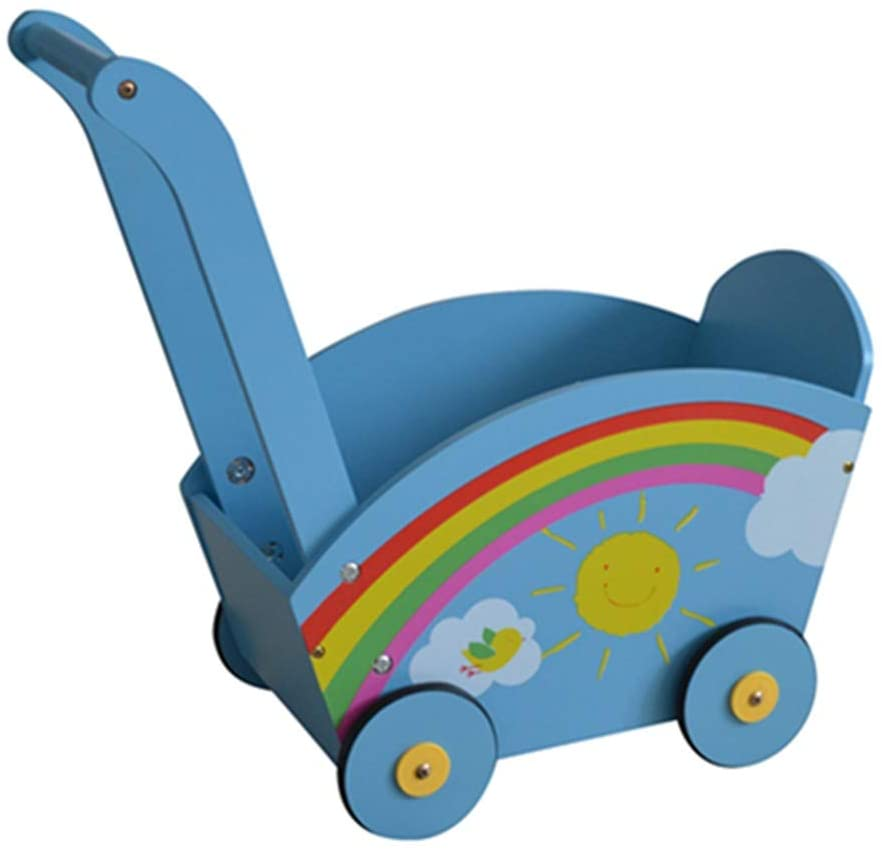 Baby First Steps Activity Walker Wooden Baby Walker Baby Balance Push Walker Kids Walker Toy Car Rollover Prevention 10-20 Month Blue Trolley Toys Children Kids Boys and Girls