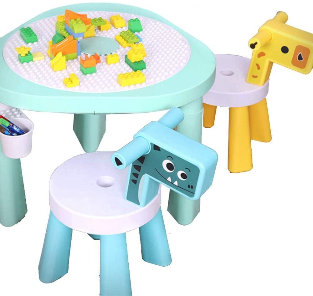 Building Block Game Table Children Assembling Sand Pool Table Building Table Granules Game Table Baby Early Education Table for Children (Color : Blue, Size : 64x64x46cm)