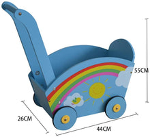 Load image into Gallery viewer, Baby First Steps Activity Walker Wooden Baby Walker Baby Balance Push Walker Kids Walker Toy Car Rollover Prevention 10-20 Month Blue Trolley Toys Children Kids Boys and Girls