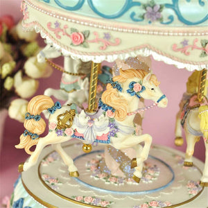 Musical Box Carousel Music Box 3-Horse Carousel Horse Musical Box Birthday Gift for Kids Gift for Christmas Birthday (Color : Picture Color, Size : 15X15X30CM)